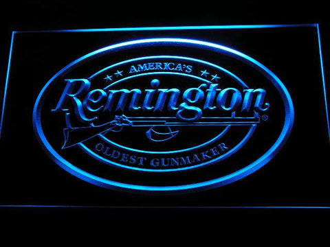 Remington Firearms Hunting Gun LED Neon Sign d233 - Blue