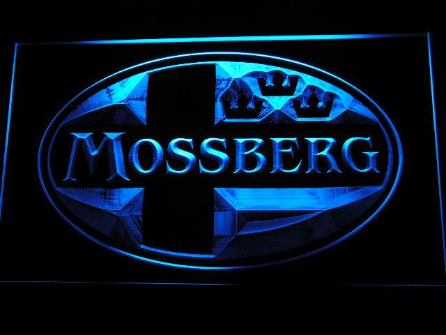 Mossberg Firearms Gun Logo LED Neon Sign d235 - Blue