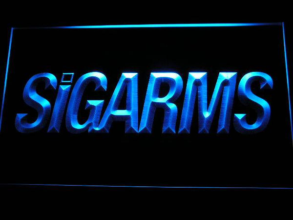 Sigarms Firearms Gun LED Neon Sign d238 - Blue