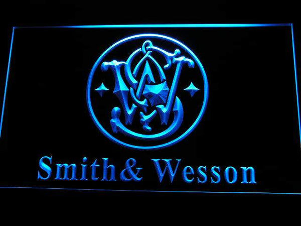 Smith Wesson Gun Firearms LED Neon Sign d239 - Blue