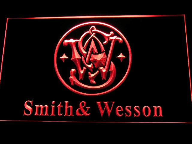 Smith Wesson Gun Firearms LED Neon Sign d239 - Red