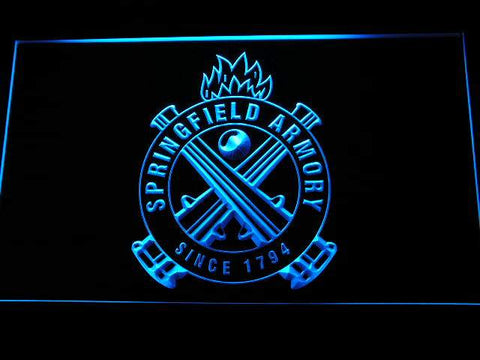 Springfield Armory Firearms Gun Logo LED Neon Sign d240 - Blue