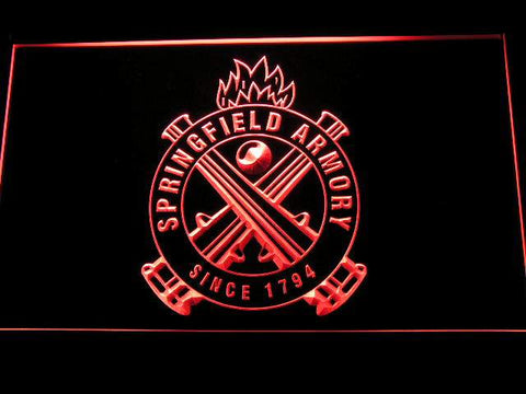 Springfield Armory Firearms Gun Logo LED Neon Sign d240 - Red