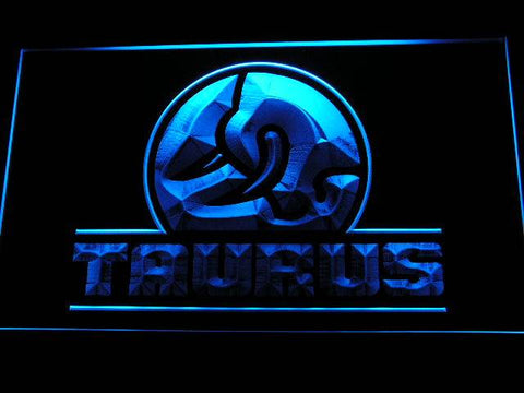 Taurus Gun Firearms Logo LED Neon Sign d241 - Blue