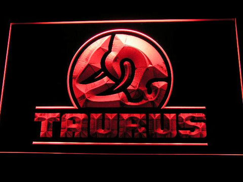 Taurus Gun Firearms Logo LED Neon Sign d241 - Red