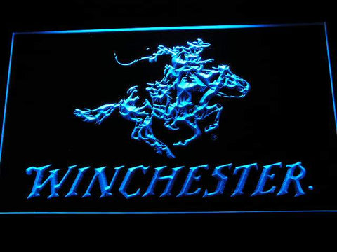 Winchester Firearms Gun LED Neon Sign d243 - Blue