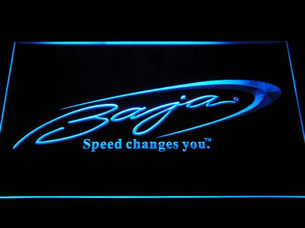 Baja Boat Fishing Logo LED Neon Sign d259 - Blue