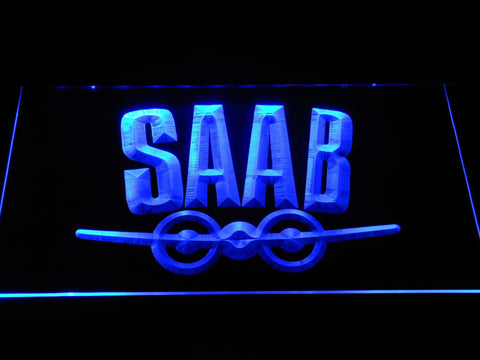 Saab Aeroplane Logo LED Neon Sign d378 - Blue