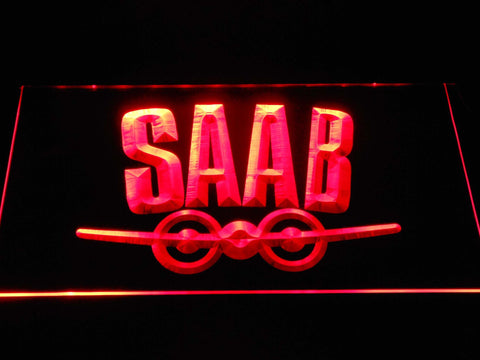 Saab Aeroplane Logo LED Neon Sign d378 - Red