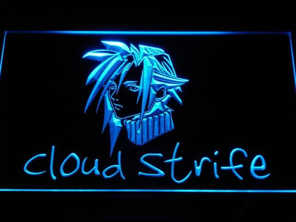 Final Fantasy Cloud Strife LED Neon Sign e045 - Blue