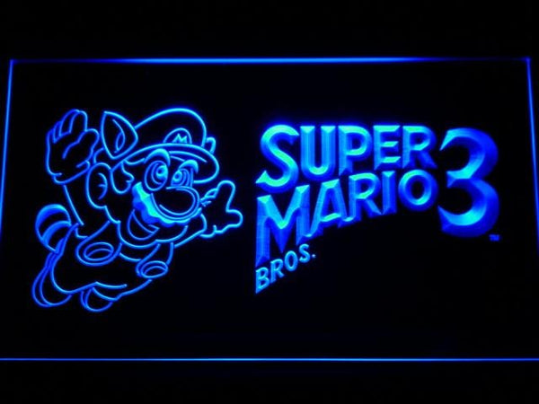 Super Mario Bros. 3 LED Neon Sign e064 - Blue