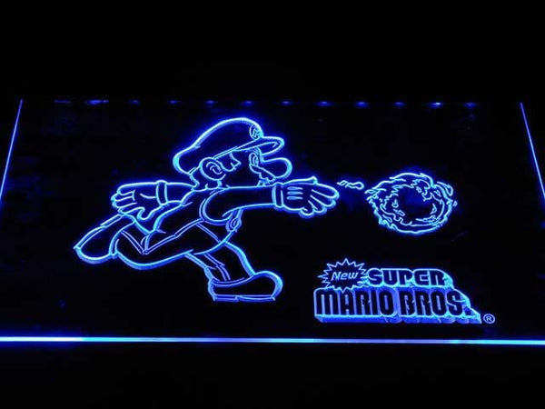 Super Mario Game LED Neon Sign e069 - Blue