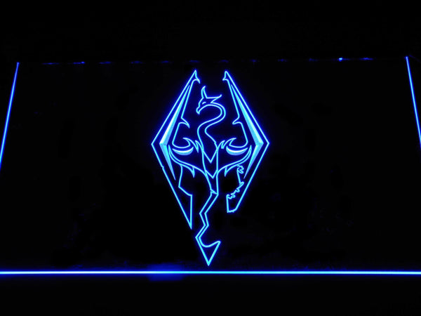 Skyrim Dragon Logo LED Neon Sign e136 - Blue