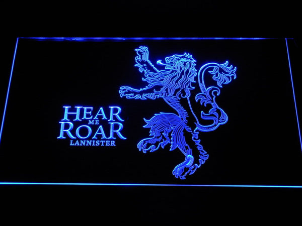 Game Of Thrones Lannister Hear Me Roar LED Neon Sign e166 - Blue