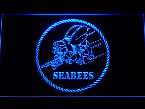 US Navy Seabees LED Neon Sign f041 - Blue