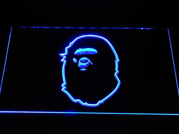 A Bathing Ape Head Logo LED Neon Sign f074 - Blue