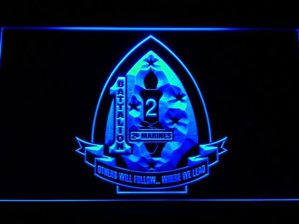 US Marine Corps 1st Battalion 2nd Marines LED Neon Sign f102 - Blue
