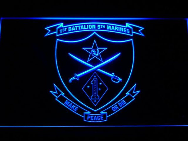 US Marine Corps 1st Battalion 5th Marines LED Neon Sign f105 - Blue