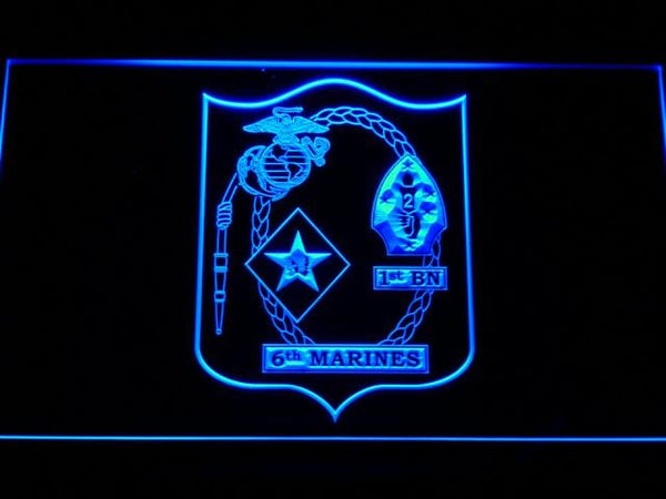 US Marine Corps 1st Battalion 6th Marines LED Neon Sign f106 - Blue