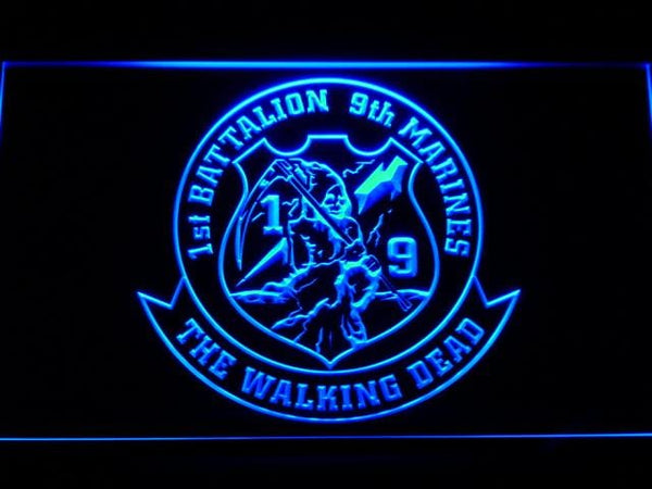 US Marine Corps 1st Battalion 9th Marines LED Neon Sign f109 - Blue