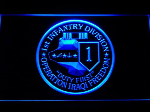 US Army 1st Infantry Division Operation Iraqi LED Neon Sign f114 - Blue