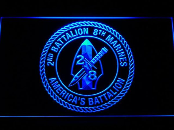 US Marine Corps 2nd Battalion 8th Marines LED Neon Sign f123 - Blue