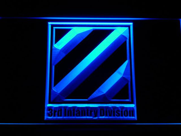 US Army 3rd Third Infantry Division LED Neon Sign f162 - Blue
