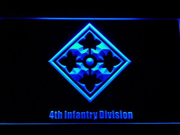 US Army 4th Infantry Division LED Neon Sign f165 - Blue