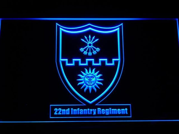US Army 22th Infantry Regiment LED Neon Sign f180 - Blue
