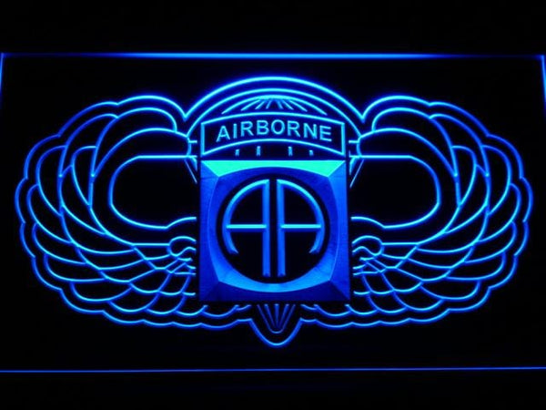 US Army 82nd Airborne Division Wings LED Neon Sign f184 - Blue