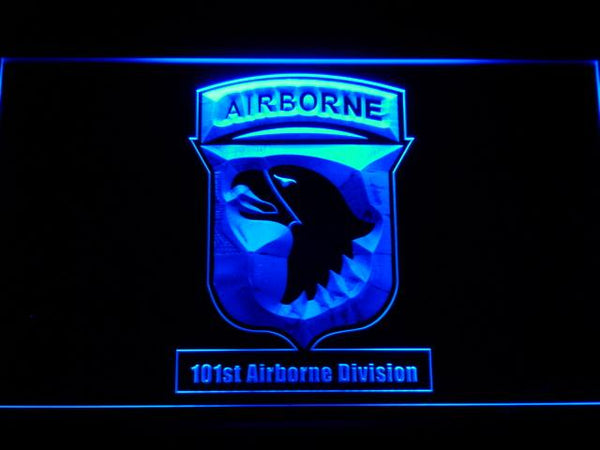 US Army 101st Airborne Division LED Neon Sign f186 - Blue