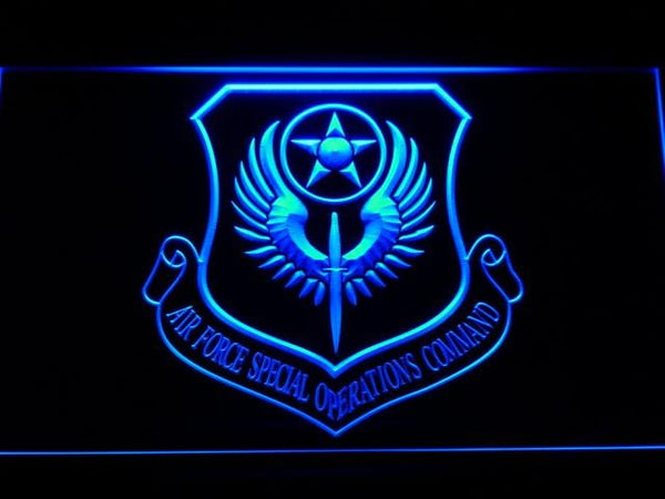 US Air Force Air Force Special Operations Comm LED Neon Sign f196 - Blue