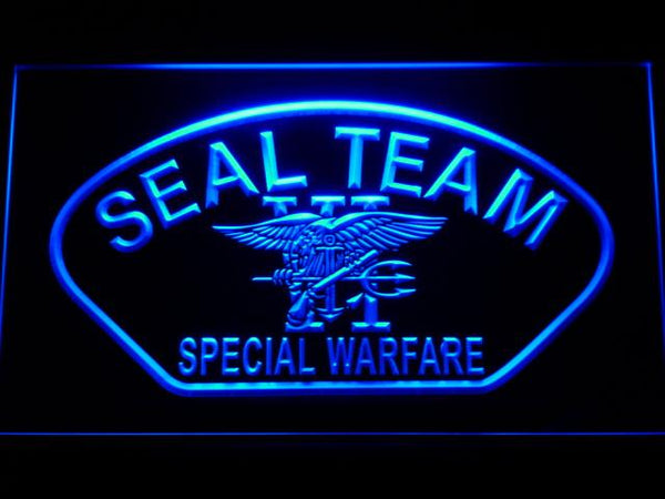 US Navy Seal Team 6 Shell LED Neon Sign f214 - Blue