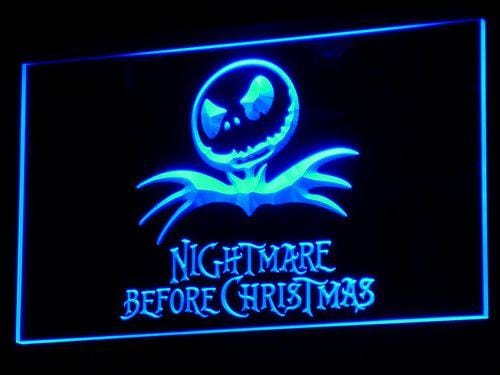 Nightmare Before Christmas Logo LED Neon Sign g055 - Blue