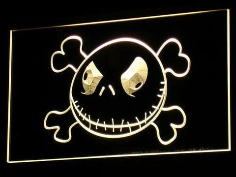Nightmare Before Christmas Jack Skellington Head LED Neon Sign g056 - Yellow