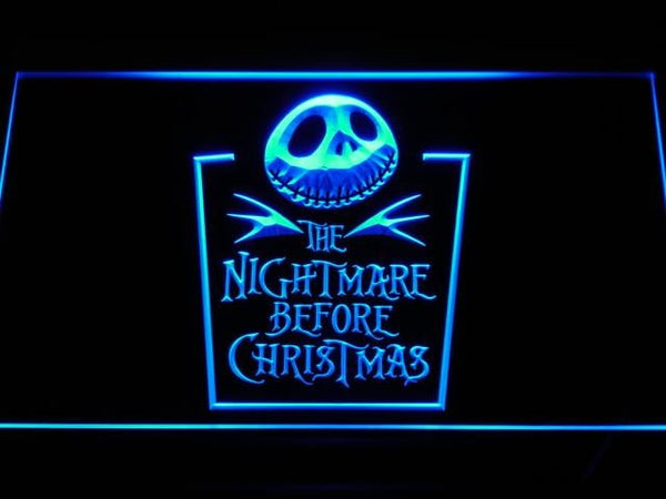 Nightmare Before Christmas Tombstone LED Neon Sign g128 - Blue