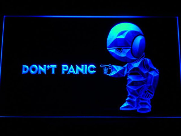 The Hitchhiker's Guide To The Galaxy Don't Panic LED Neon Sign g189 - Blue