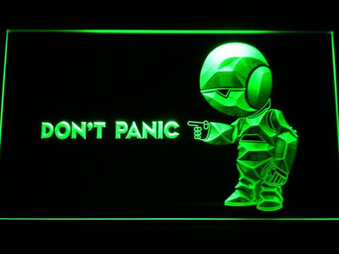 The Hitchhiker's Guide To The Galaxy Don't Panic LED Neon Sign g189 - Green