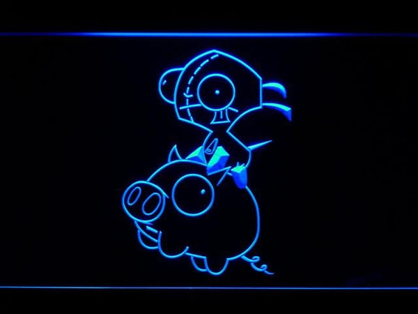 Invader Zim Gir And Piggy LED Neon Sign g224 - Blue