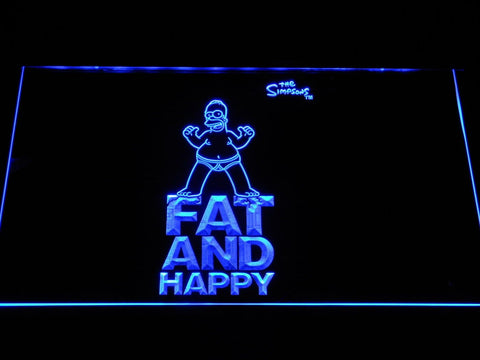 The Simpsons Fat And Happy LED Neon Sign g352 - Blue