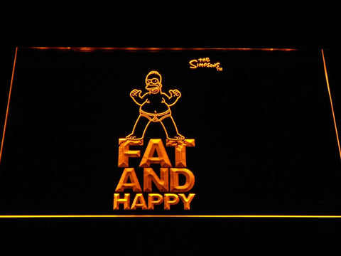 The Simpsons Fat And Happy LED Neon Sign g352 - Yellow