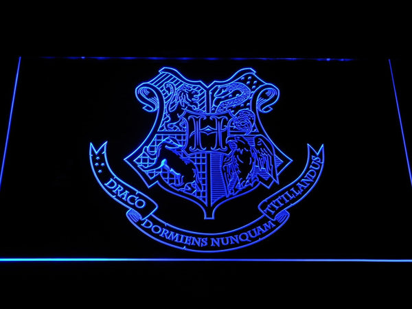 Harry Potter Hogwarts Crest LED Neon Sign g353 - Blue