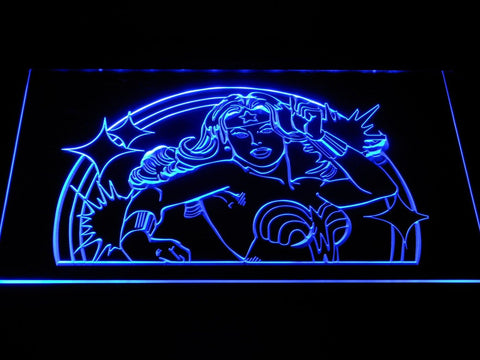 Wonder Woman Superhero LED Neon Sign g398 - Blue