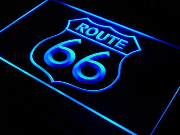 Route 66 Mother Road LED Neon Sign i371 - Blue