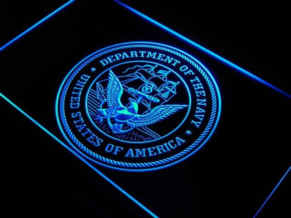 US Navy Eagle Bar Decor Badge LED Neon Sign j945 - Blue