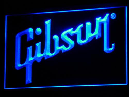 Gibson Guitar LED Neon Sign k005 - Blue