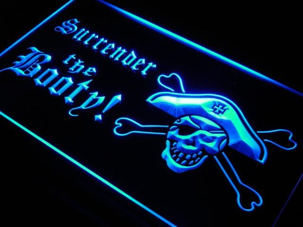 Surrender The Booty Pirate Logo LED Neon Sign s147 - Blue