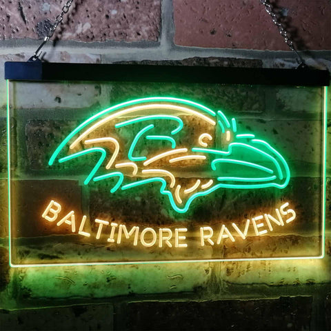 Baltimore Ravens Football Bar Decoration Gift Dual Color Led Neon Sign b2033