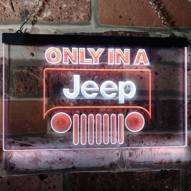 Only in a Jeep Car Bar Decoration Gift Dual Color Led Neon Sign d0134