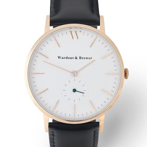 Wardour & Brewer Silverstone Watch in Black Leather and Rose Gold